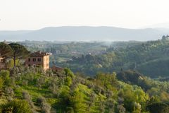 Tuscany villa with olive grove in front stock photos
