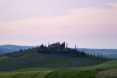 Tuscany villa at sunset Stock Images