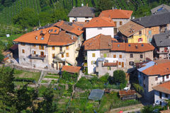 Tuscany Village. Little Tuscany village and a wine field Stock Image