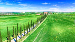 Tuscany village building, aerial view of italian hills Royalty Free Stock Photo