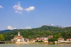 Tuscany village on the lake Royalty Free Stock Image
