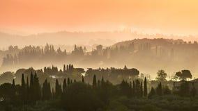 Tuscany Village Landscape Stock Photo