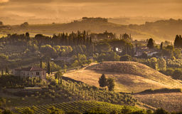 Tuscany Village landscape Scene Stock Photo