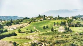 Tuscany - vineyards, hills, villages stock image
