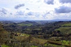 Tuscany wild landscape with field Stock Photos