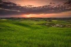 Tuscany zmierzch w wiosna czasie zdjęcia stock