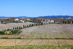 Tuscanys lantliga jordbruksmark Arkivbild