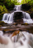 Tuscarora Falls and small cascades on Kitchen Creek in Ricketts Glen State Park Royalty Free Stock Photography