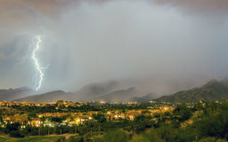 Tuscon, AZ, lightning. On a lovely August night in 2016 viewed from the Hacienda del sol Hotel & Resort Stock Photography