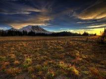 Tusen dollar parkerar solnedgång och Mount Rainier Arkivbilder