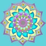 Tusenskönablommamandala, i palett för pastellfärgade färger, plan turkosbakgrund, tappningbild royaltyfri illustrationer