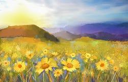 Tusenskönablommablomning Olje- målning av ett lantligt solnedgånglandskap med ett guld- tusenskönafält Arkivfoton