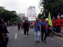 Thousands of students and workers staged rallies supporting Indonesian laborers 06 to 08 October 2020.