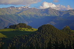 Tusheti with Caucasus mountains Royalty Free Stock Photo