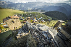 Tusheti National Park mountain village towers Stock Photos