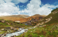 Tusheti parka narodowego górska wioska góruje Zdjęcie Royalty Free