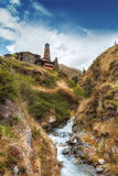 Tusheti parka narodowego górska wioska góruje Fotografia Royalty Free