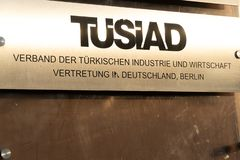 TUSIAD Association of Turkish industry and business representation. Berlin, Germany - April 19, 2019: Plate of TÜSİAD Verband der Türkischen Industrie stock photo