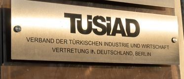 TUSIAD Association of Turkish industry and business representation. Berlin, Germany - April 19, 2019: Plate of TUSIAD Verband der Türkischen Industrie und royalty free stock image