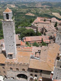 Tuskany I. Medieval Tuscan city seen from above Royalty Free Stock Image