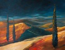 Tuskany landscape acrylic painted Stock Photography