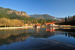 Tusnad Resort With Ciucas Lake From Romania Royalty Free Stock Photography