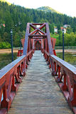 Tusnad spa: bridge to floating restaurant Stock Image