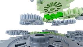 Tussen Gray Gears en Kleine Groene Toestellen Royalty-vrije Stock Afbeeldingen