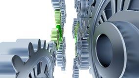 Tussen Gray Gears met Kleine Groene Toestellen Royalty-vrije Stock Afbeelding