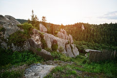 Tustan fortress ruins of rocks at Carpathian Ukraine Stock Photography