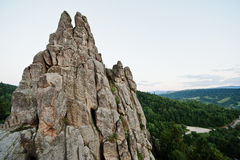 Tustan fortress ruins of rocks at Carpathian Ukraine Royalty Free Stock Images