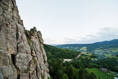 Tustan fortress ruins of rocks at Carpathian Ukraine. View on ca Stock Images