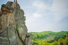 Tustan - old rock fortress city, Ukraine Stock Photo
