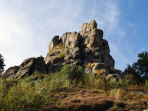 Tustan Rocks. Near Urych. Carpathian Mountains. Ukraine Royalty Free Stock Image