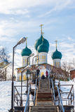 Tutaev, Russia - March 28, 2016.  Resurrection Cathedral in Tutaev, Russia. Golden Ring Travel Stock Image