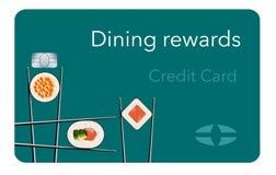 Tutaj jest łomotać nagrody kredytowym kartą uwypukla suszi i chopsticks w karcianym projekcie ilustracja wektor