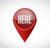 tutaj lokacja pointeru znaka ilustracja Fotografia Royalty Free