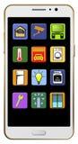 Tutaj są mądrze domowi apps wystawiający na ekranie telefon komórkowy ilustracja ilustracji