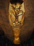 Tutankhamen, Ancient Egypt. Gold trimmed outer coffin of Tutankhamen.The international exhibition in Prague - 2013 stock photos