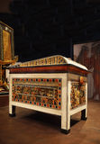 Egyptian Pyramid, Artifact. Decorated Chest -box decoration. Tutankhamen. His Tomb and Treasures.The international exhibition in Prague stock images