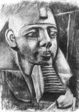 Tutankhamen illustration. Hand drawn charcoal Tutankhamun illustration from sculpture in the British museum vector illustration