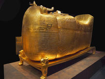 Tutankhamen Pharaohs Ancient Egypt. Gold trimmed outer coffin of Tutankhamen. Tutankhamen: His Tomb and Treasures, The international exhibition in Prague royalty free stock photography
