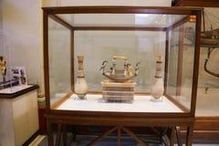 Tutankhamon treasure at Egyptian museum. Cairo, Egypt Jan. 2018 Ancient gold and silver pieces of Tut Ankh Amon treasure Egyptian museum Stock Photography