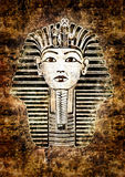 Tutankhamun. Egyptian Pharaoh. Golden Mask likeness. Grunge wall Royalty Free Stock Photos