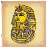 Tutankhamun - An hand drawn vector sketch, freehand, colored lin Stock Photography
