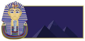 Tutankhamun and Pyramids Stock Image