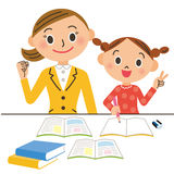 Tutor and child. I improve the results of the child by a personalized instruction Royalty Free Stock Photos