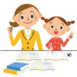 Tutor e criança ilustração stock