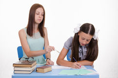 Tutor girl shows development of the solution Stock Photography