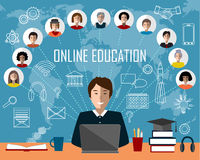 Tutor and online education group. White contour icons background Royalty Free Stock Photography